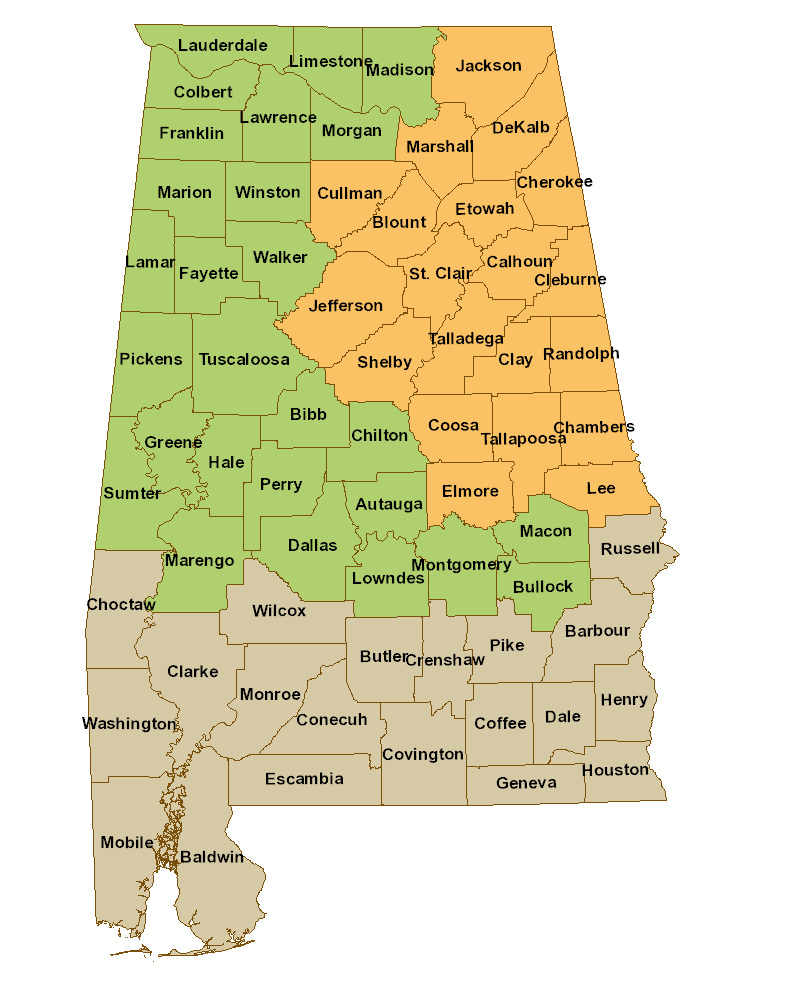 Map Of Georgia Physiographic Regions.Geographic Regions Alabama Butterfly Atlas